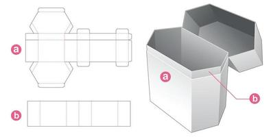 Flip hexagonal packaging box die cut template vector