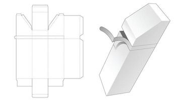 Zipping tall chamfered box die cut template vector