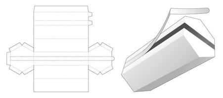 Tall hexagonal packaging with zipping die cut template vector