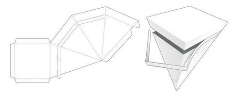 Plantilla troquelada de caja piramidal con cremallera vector