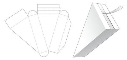 Triangular packaging with top zipping die cut template vector