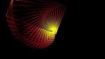 túnel hipnótico com linhas vermelhas e amarelas