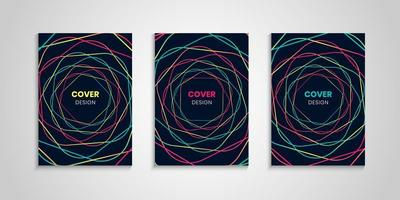 Abstract Cover Collection With Colorful Wavy Lines