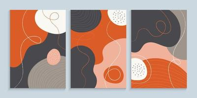 Cover design set with abstract organic flowing shapes vector