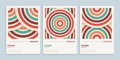Abstract retro circles cover design with vintage colors vector
