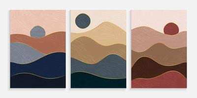 Creative minimalist landscape hand painted poster vector