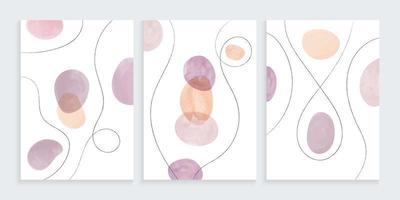 Watercolor organic shapes with freehand lines drawing vector
