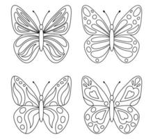 Collection of cute butterflies for coloring vector