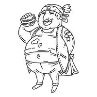 Overweight man with burger. vector