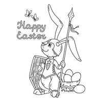 Easter bunny knight with a lance and shield. vector