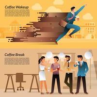 Empresarios disfrutando del café para energía y socialización. vector