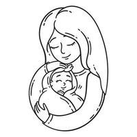 madre sosteniendo bebé. vector