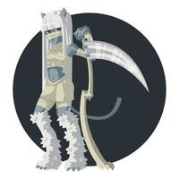 Girl mummy cat with a scythe. vector
