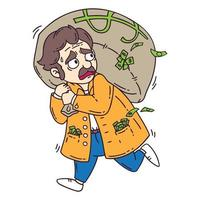 Thief with bag of money. vector