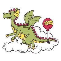 dragón volador con globo. vector