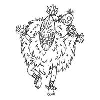 Tribal dancer. Coloring page. vector