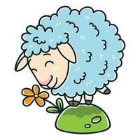 oveja con una flor. vector