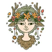 Forest spirit girl. vector
