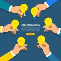 concepto de diseño plano crowdsourcing vector