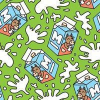 paquete de patrones sin fisuras de leche. vector