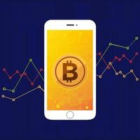 Bitcoin technology on mobile phone screen vector