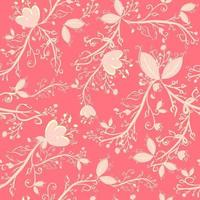 Pink botanical seamless pattern with leaves, branches and flowers. Repetitive background with floral and spring motifs. Elegant and delicate wallpaper with natural elements. vector
