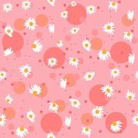 Spring seamless pattern with chamomile flowers and pink bubbles. Repetitive feminine and floral background with white flowers. Herbal wrapping paper. vector