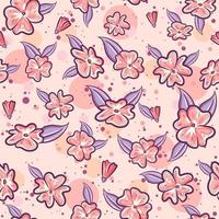 Pink seamless pattern for spring with sakura flowers and purple leaves. Repetitive spring background with floral and herbal motifs. vector