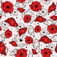 patrón transparente rojo con amapolas de dibujo. Fondo floral repetitivo con flores de jardín para primavera y verano. vector