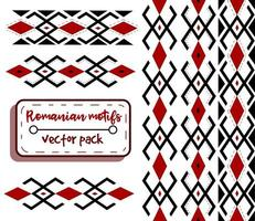 Romanian red and black traditional motifs. Embroidery and needlework conceptual art of moldavian and eastern european fashion. Seamless pattern with ethnic and folklore shapes. vector