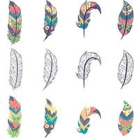 Element pack with isolated colorful feathers and sketches. Collection of hippie bohemian objects with aztec and oriental motifs. vector