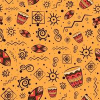 African traditional seamless pattern with national mayan and aztec motifs. Repetitive background with bohemian elements and earth tones. vector