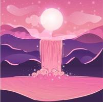 crepúsculo panorámico de un lago con cascada en una puesta de sol bajo la luz de la luna. vector degradado con montañas, colinas y agua que fluye en el río. paisaje natural sobre viajes y aventuras.