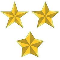 Ilustración de tres tipos de estrellas de 5 puntas. vector