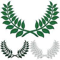 Laurel wreath vector design, two laurel branches making a semicircle in three different styles.