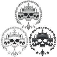 Ilustración de cráneos coronados, con cadenas y flor de liz. vector