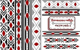 Romanian traditional embroidery with moldavian motifs. Seamless patterns and borders with national knitted balkanic elements. Cross-stitch ukrainian and eastern european ribbons. vector