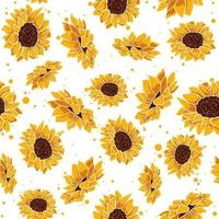 Yellow seamless pattern with tropical summer flowers. Floral repetition background with spring floral elements. Vector wallpaper with sunflower and daisy plants in bloom.