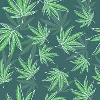 Green seamless pattern with medical herbs. Repetitive background with marijuana and cannabis leaves. Natural illustration of hemp. vector