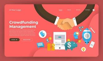 Crowdfunding management landing page mockup vector