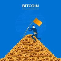 Bitcoin mining concept. The businessman stands on a coin mountain vector