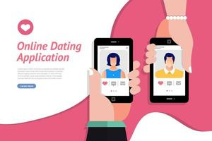 Online Dating App on Mobile Phone vector