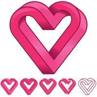 Ilustración de una figura de geometría imposible con forma de corazón vector