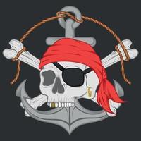 diseño vectorial de ancla de calaveras piratas vector