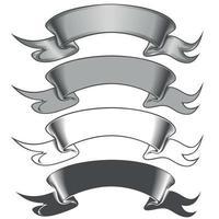 diseño vectorial de cuatro cintas en escala de grises. vector