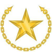 diseño vectorial de una estrella rodeada de cadena en color dorado. vector