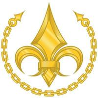 Vector design of liz flower in metallic style surrounded by a gold colored chain