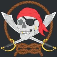 Diseño de calavera pirata con dos espadas. vector