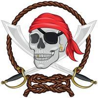 Diseño de calavera pirata con espadas y cuerda. vector