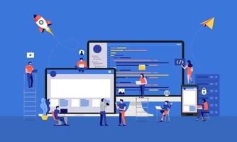 Team of developers working on code vector